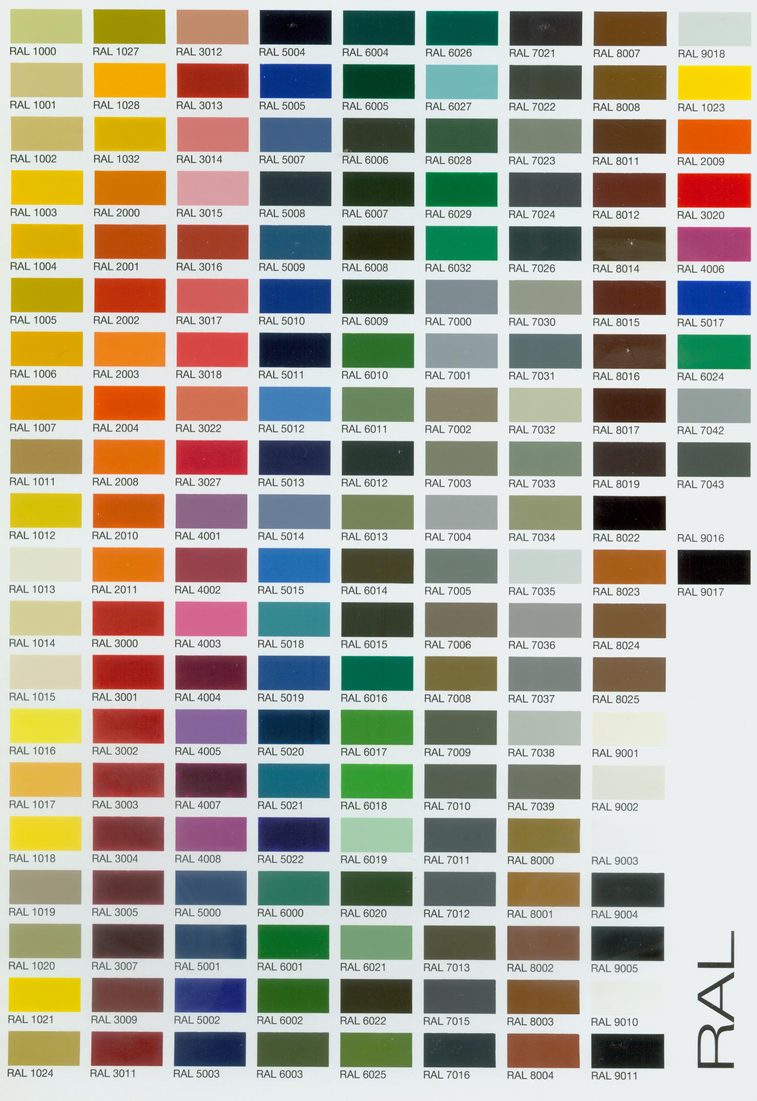 RAL Color Chart Web